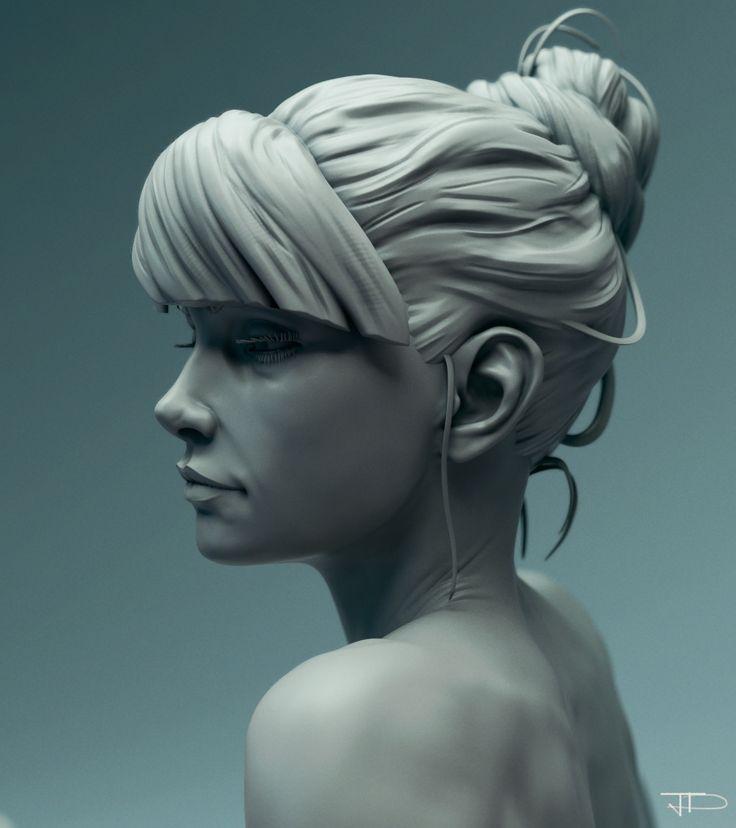 Girl Study Portrait, Julien Desroy on ArtStation at https://www.artstation.com/artwork/2k46B