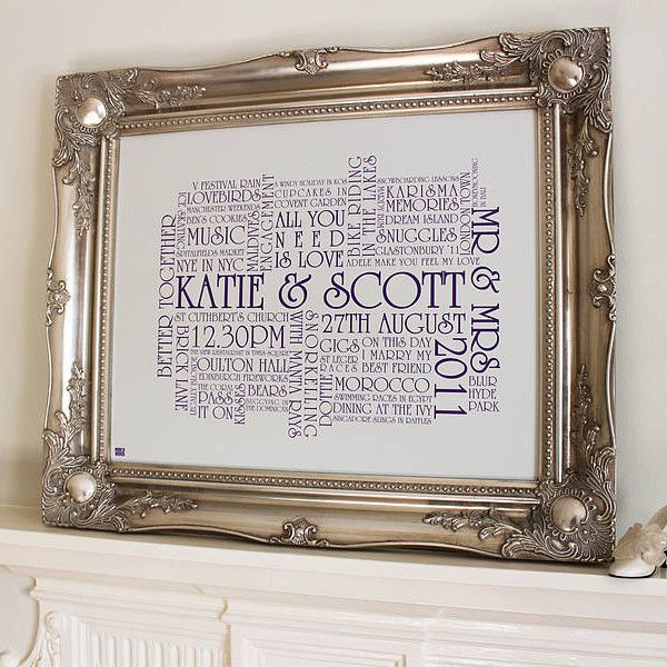 personalised ornate vintage framed canvas by More Than Words. A perfect wedding keepsake.
