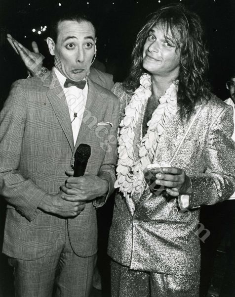 David Lee Roth, Pee Wee Herman, 1985 Hollywood. Obviously discussing ways they can destroy their careers.