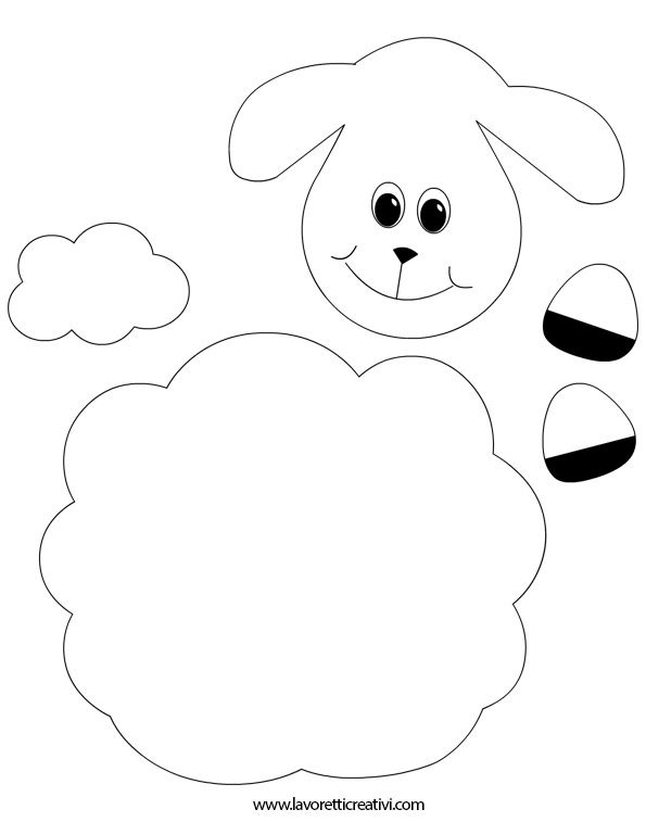 SAGOME AGNELLO Sagome utili per realizzare un agnello di Pasqua con i cartoncini colorati.