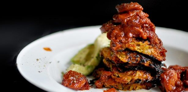 Sweet potato rostis and russians