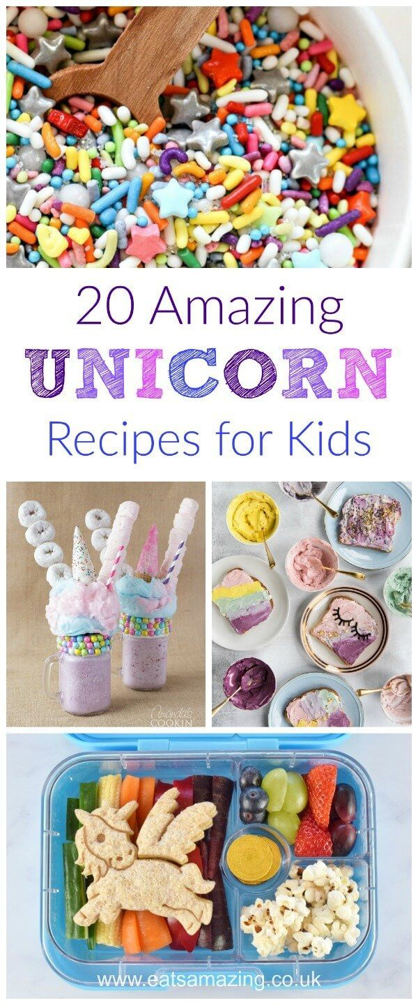 20 Amazing Unicorn recipes for kids - gorgeous rainbow fun food treats for your unicorn loving child - perfect for birthdays and unicorn party food!