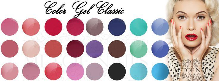 Gel Colors Classic. Color Gel Classic. Trendy en moderne kleuren die mooi blijven, zonder afbladderen of beschadigingen. Het heeft een gemakkelijke 1-laagsapplicatie. Alle kleuren hebben een hoogglans en zijn perfect voor over natuurlijke nagels en overlays. Geschikt voor zowel nagelstyliste als pedicure.