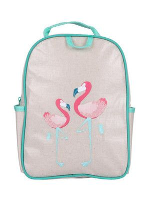 Aqua Flamingo Toddler Backpack by Apple and Mint from Down That Little Lane