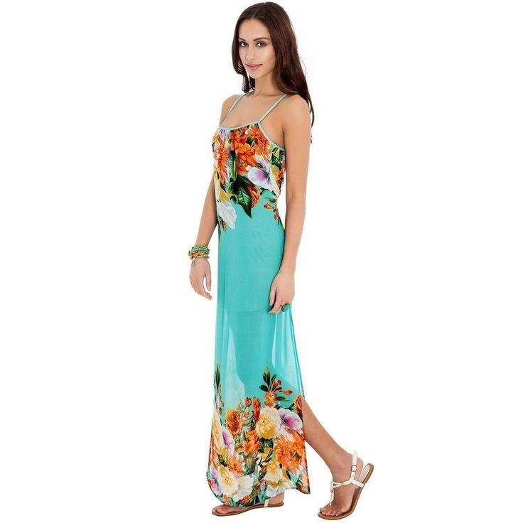 Aqua floral print chiffon maxi dress