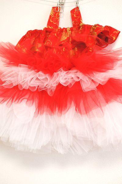 女の子キッズ・和柄チュチュワンピース 結婚式用衣装-手作り子供服の通販店 神の手