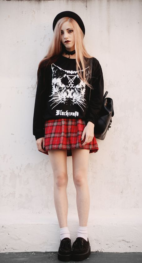 Cat Sweatshirt with black hat, Plaid dress, Choker & Black creepers shoes