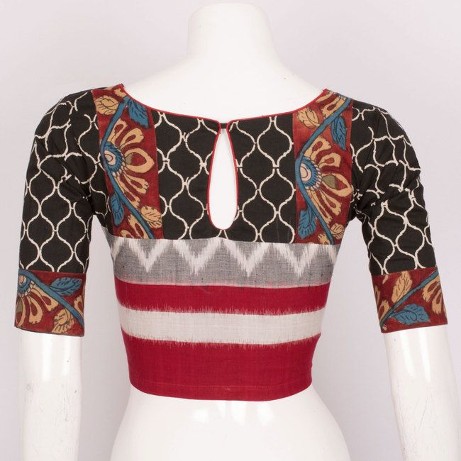 Hand Crafted Ikat Cotton Blouse With Lining & Applique Work  10019604 Size - 40 - AVISHYA.COM