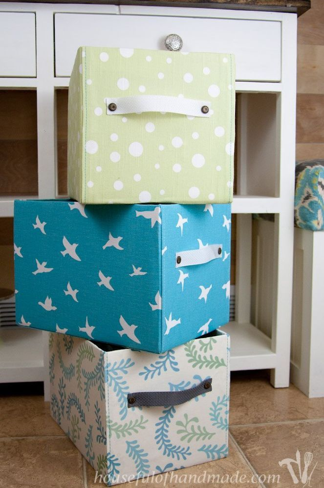 FABRIC -stitched to look neat on the front- covered boxes, boxes with size adjusted... see her blog