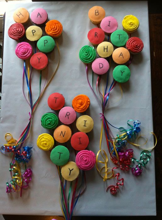 Cupcakes in Shape of 3 Colorful Balloons