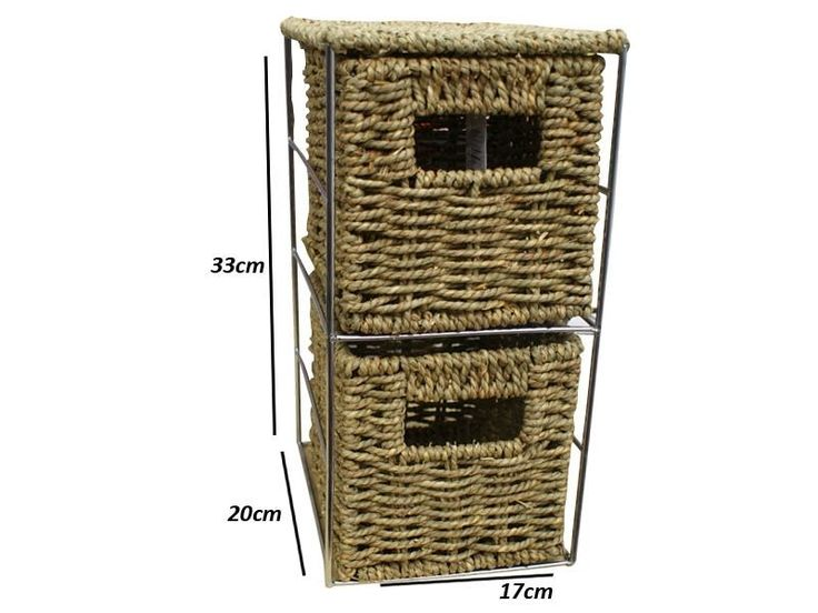 2 Drawer Seagrass Tower Storage Unit -Ideal for Bathroom/Office/Home
