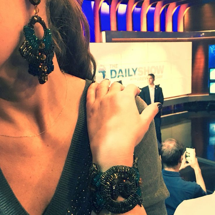The Daily Show with our fabulous Native Crystals Earrings & Bracelet! #fashionjewelry