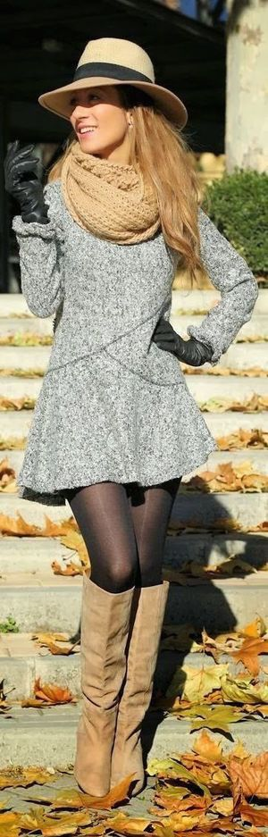#winter #fashion / gray knit flared dress