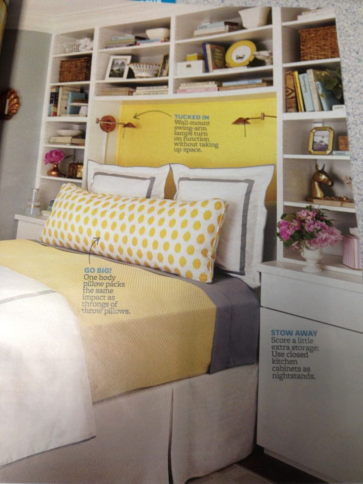 ikea kitchen cabinets as pseudo built-ins around a bright cheery bed ...