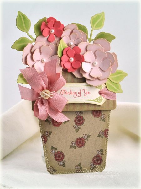 Lovely Thinking Of You Card...with flower pot & dimensional flowers.  This would make a wonderful Mother's Day card!