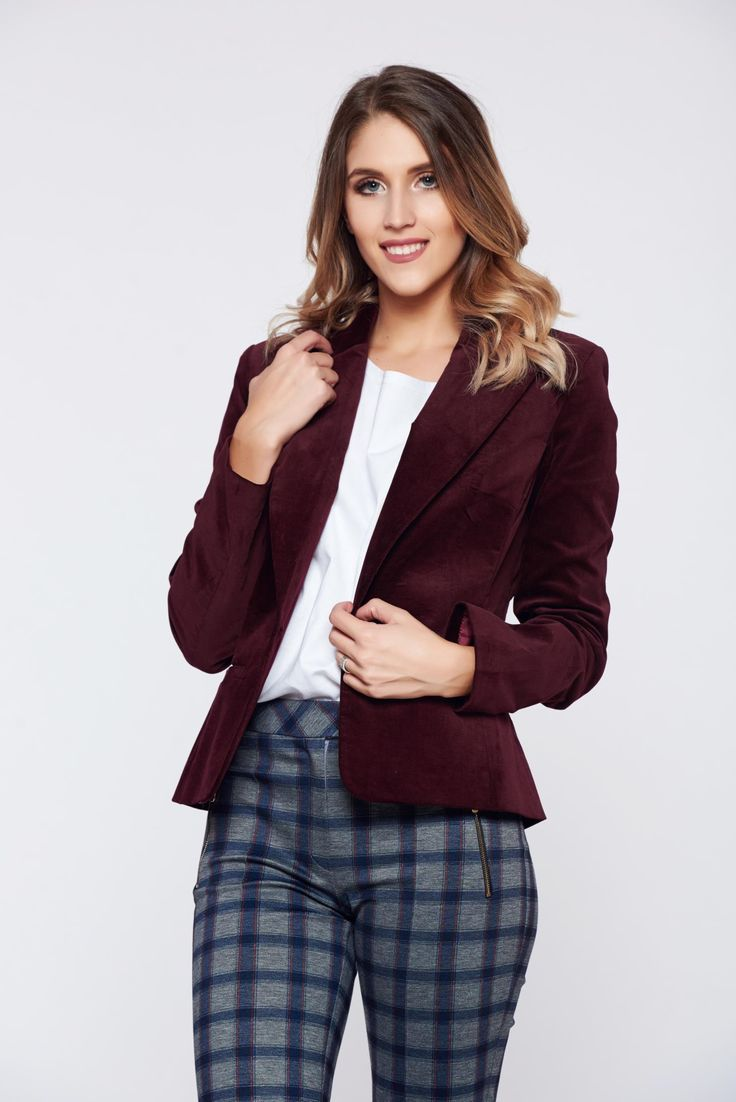LaDonna burgundy office velvet jacket with pockets, padded shoulders, nonelastic fabric, arched cut, long sleeves, one button fastening, with pockets, inside lining, velvet