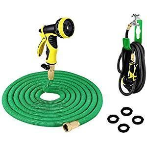 Plusinno Expandable Hose Pipe Garden Water Hose, Full Set, Heavy Duty, Solid Bass Connector w/Shut Off Valve, Hose Hanger & 9 Pattern Spray Nozzle, 75 Feet, Green-retractable heavy duty hose made of innocuous natural latex, triple latex core is much stronger/durable, expands 3x its length instantly w/high pressure spray, ultra lightweight/compact, 9 function spray nozzle, hose holder to hang & store, 12 month warranty, not intended for drinking water, *drain hose when not in use, 4.2 lbs…