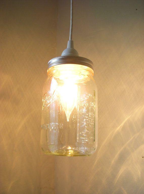 Mason Jar Lighting Hanging Pendant Clear Glass Quart Jar Light Fixture - Upcycled Rustic Wedding Party Lights BootsNGus Lamp Design on Etsy, $30.00