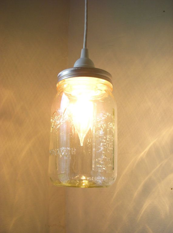 Mason Jar Lighting Hanging Pendant Clear Glass Quart Jar Light Fixture - Upcycled Rustic Wedding Party Lights BootsNGus Lamp Design on Etsy, $30.00