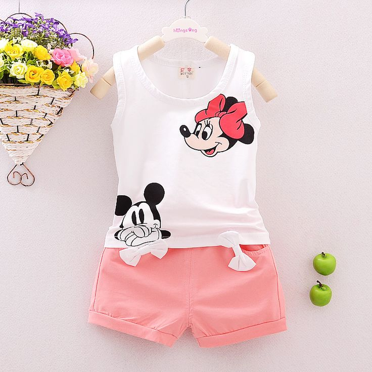 Summer Cartoon Minnie Kids Girls Clothes 2017 Toddler Girl Clothing Set Infant Baby Girl Boutique Clothing Vest + Shorts T524 //Price: €11.66 & FREE Shipping //   #fashion #baby #clothes #trendy #2017