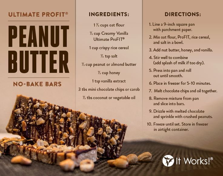 Ultimate ProFit Peanut Butter no bake bars protein recipe