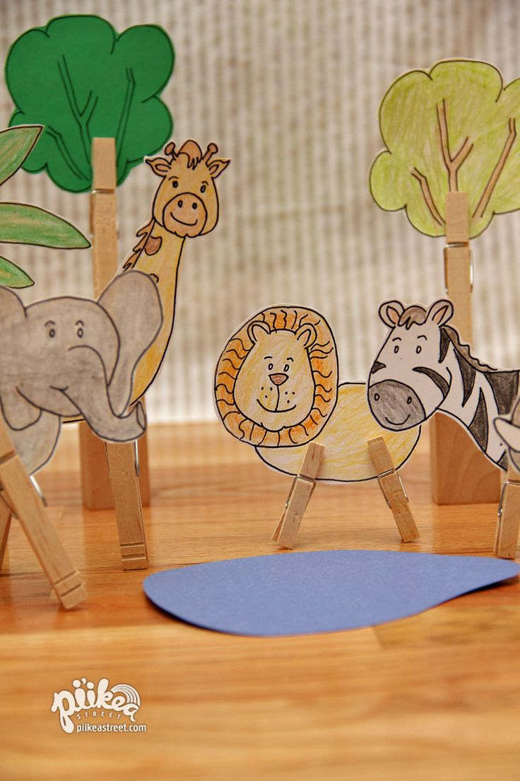 Clothespin Jungle. Download and color. An Original #kids #craft by www.piikeastreet.com #piikeastreet