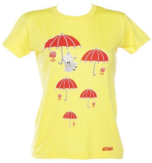 Ladies Yellow Moomins Little My Umbrellas T-Shirt