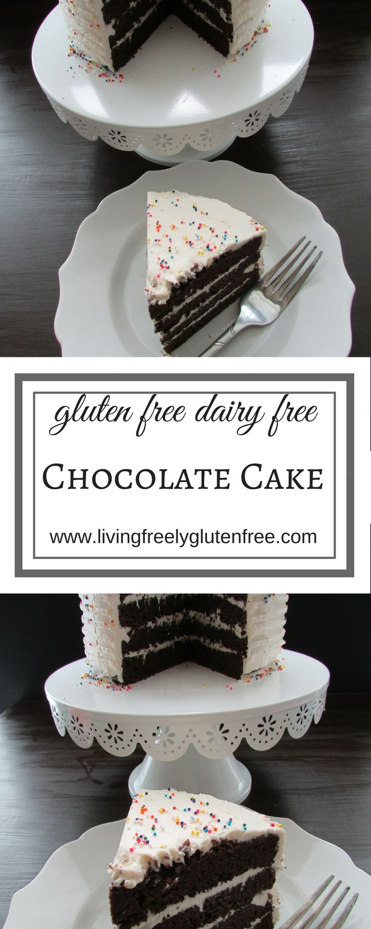This delicious Chocolate Cake is gluten free, dairy free and made with easy to find ingredients that you likely have on hand right now. #glutenfree #birthdaycake #glutenfreerecipes #dairyfree #dessert #glutenfreecake www.livingfreelyglutenfree.com Gluten free birthday cake. Dairy free birthday cake. Gluten and dairy free birthday cake. Gluten free chocolate cake. Dairy free chocolate cake. Gluten and dairy free chocolate cake.