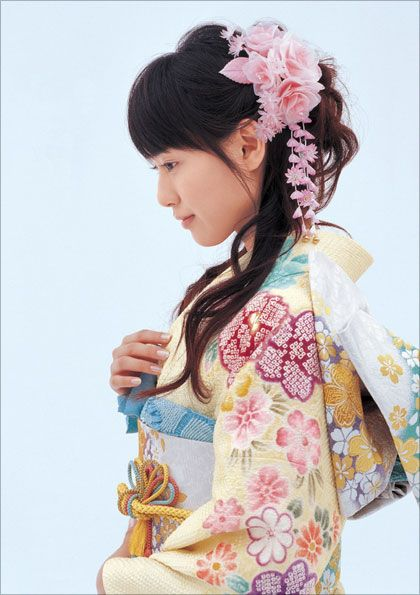 "Toda Erika (from Death Note Live Action fame) wearing furisode. A furisode ""is the most formal style of kimono worn by unmarried women in Japan""."