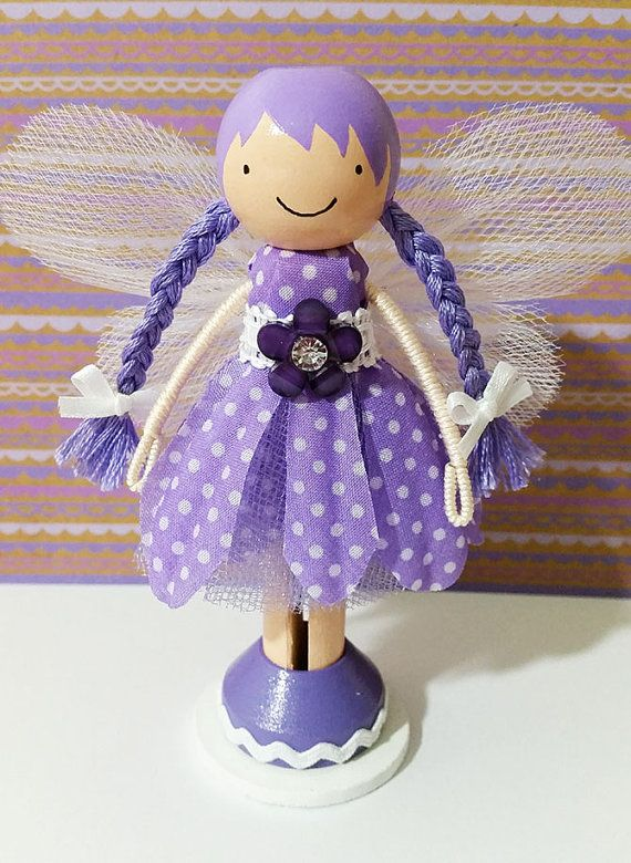OOAK Purple Daisy Fairy Miniature Wooden by SugarlandDollHouse
