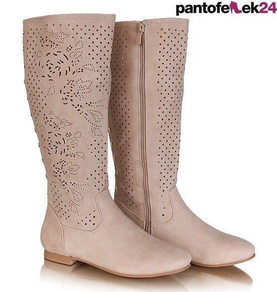 Botki w kolorze beżowym / Beige boots / 69,90 PLN #beige #boots #botki #shoes #obuwie
