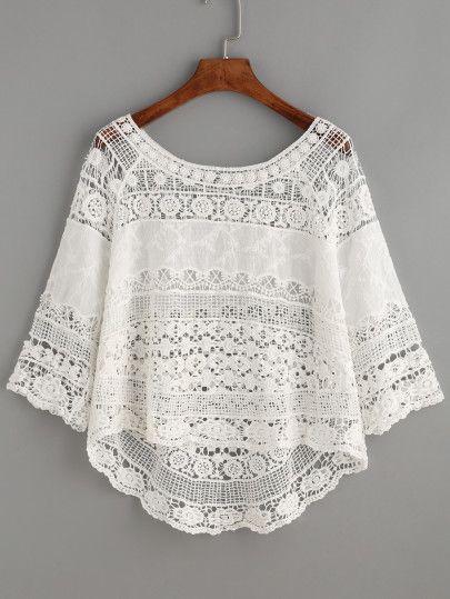 Blusa hueca de croché bajo asimétrico-Sheinside