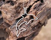 Dolphin Necklace, Sterling Silver, Wire Jewelry
