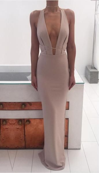 Sexy Deep V Neck Simple Cheap Long Party Occasion Prom Dresses, SG139 1