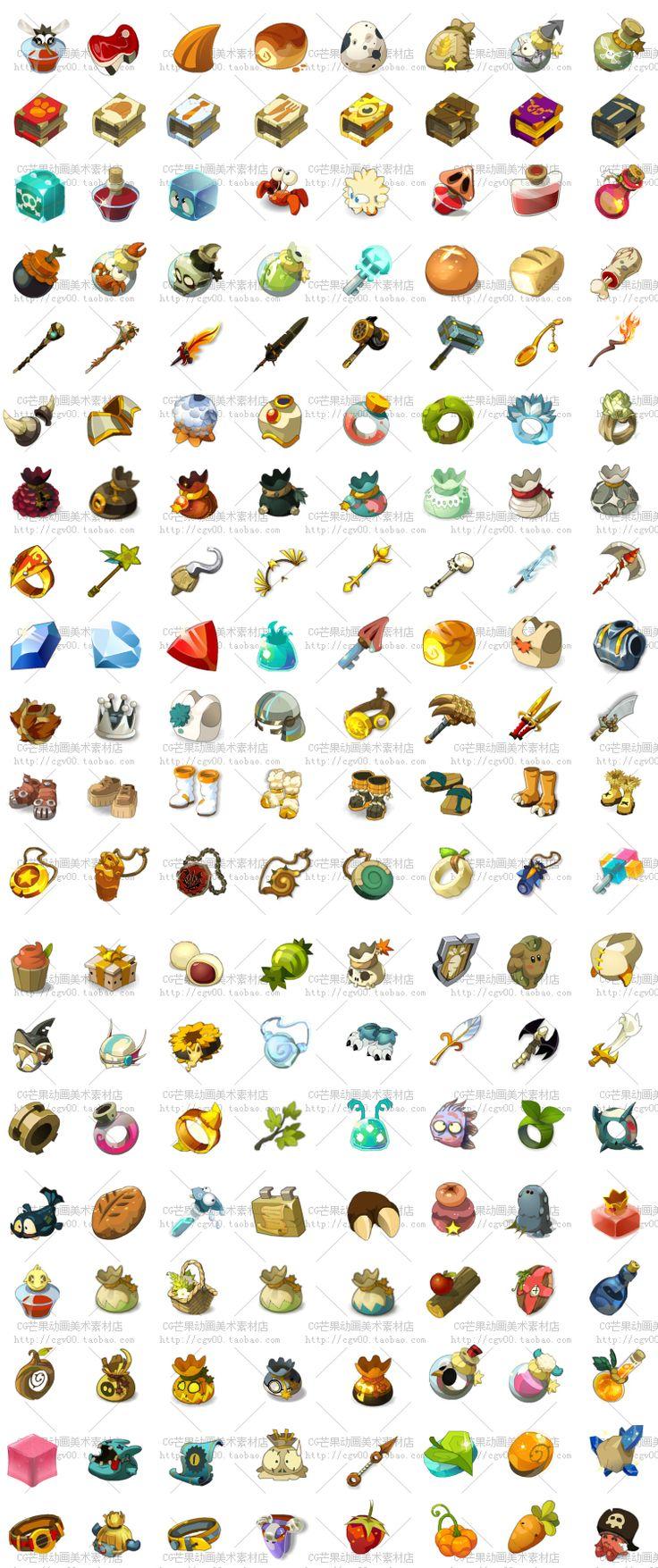 游戏美术资源/2D资源 Q版卡通UI素材/界面/图标ICON【Wakfu沃土】-淘宝网