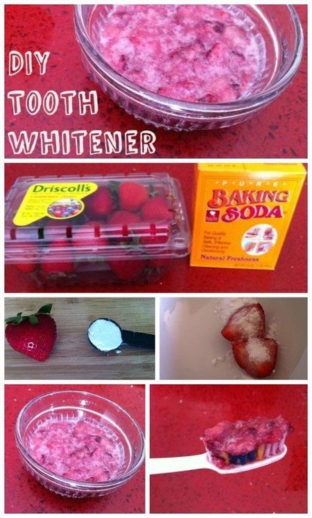 DIY Teeth Whitener! 1/2 teaspoon baking soda + one mashed up strawberry. Let sit for 5 minutes on your teeth-rinse off then brush with your normal toothpaste.