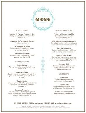 Customize French Restaurant Menu
