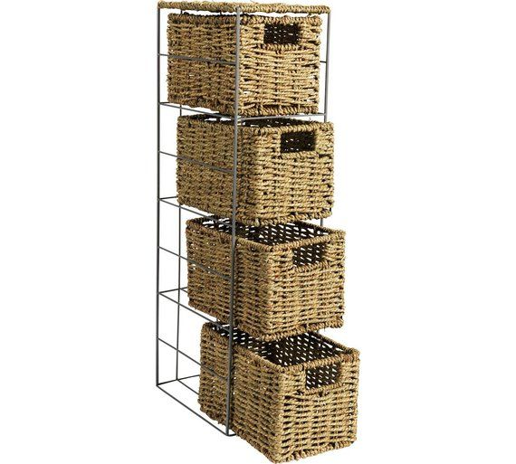 buy home slimline 4 drawer seagrass storage tower natural at argoscouk unit