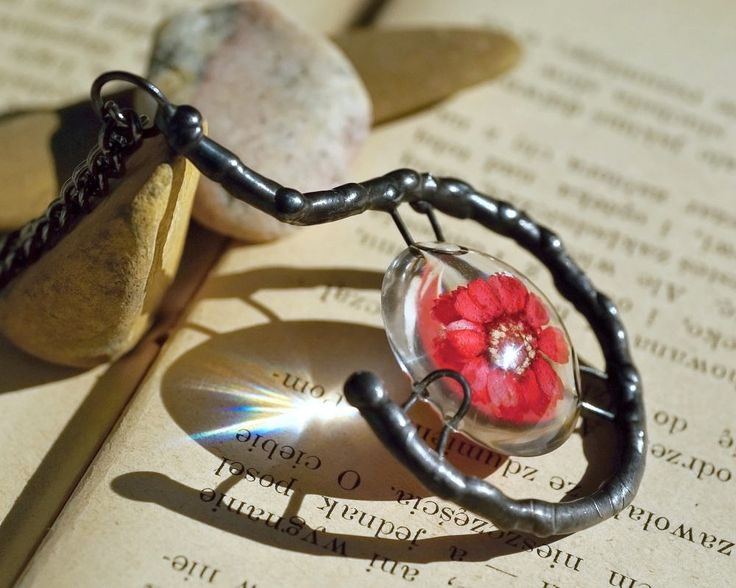 necklace with real flower in resin, OOAK,  metalwork, resin necklace, handmade by pentaxPL on Etsy