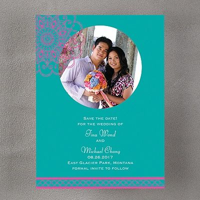 Bombay Beauty Save the Date - Fuchsia    |  40% OFF  |  http://mediaplus.carlsoncraft.com/Wedding/Save-the-Dates/3148-KEP23913SDFA-Bombay-Beauty-Save-the-Date--Fuchsia.pro