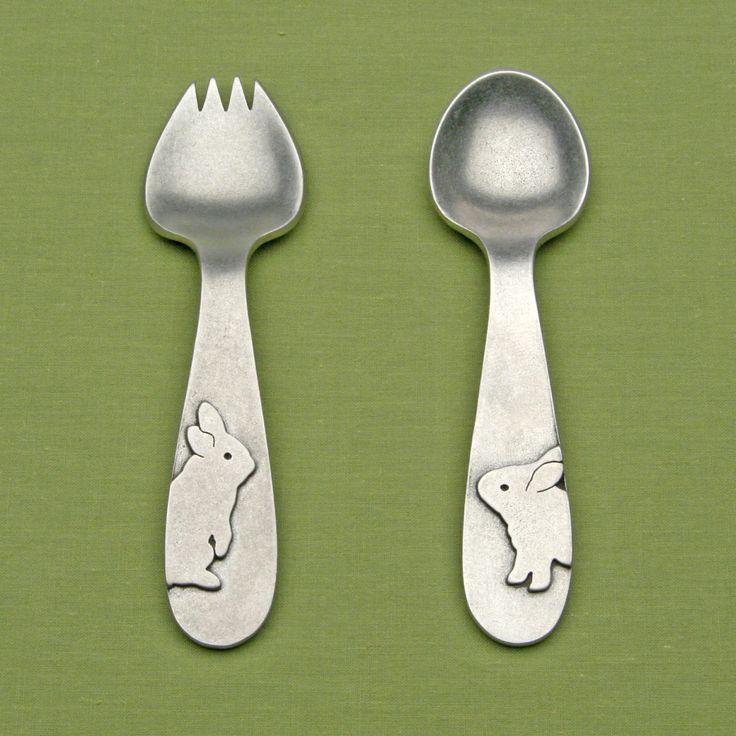 Rabbit spoon and spork feeding set.