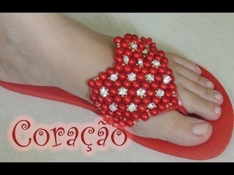 Chinelo decorado - Manta de coração de pérolas - YouTube