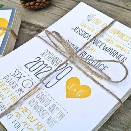 Lindos convites de casamento amarelos [Foto]