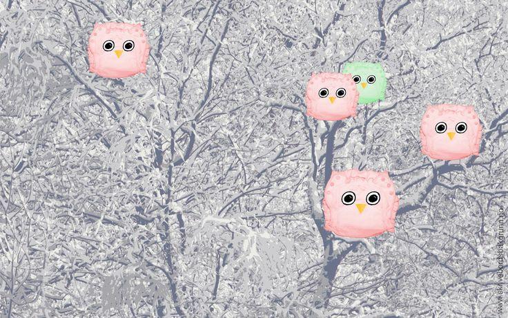 Skrivebordsbakgrunn: Tøybleieugler i skogen / Cloth diaper owls in the woods