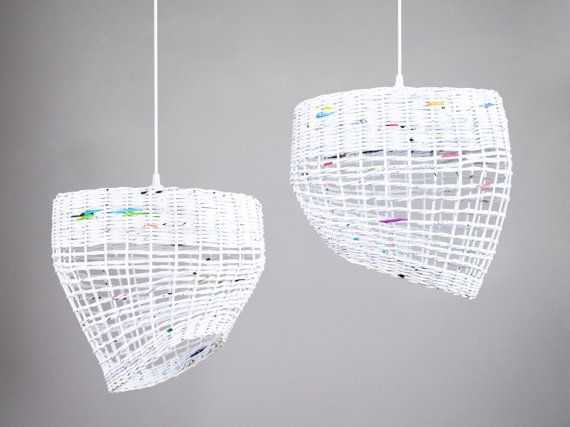 White hanging eco paper lamp Kitchen pendant light Nordic style Simple geometric shape Oryginal decorative modern lamp White Coffee