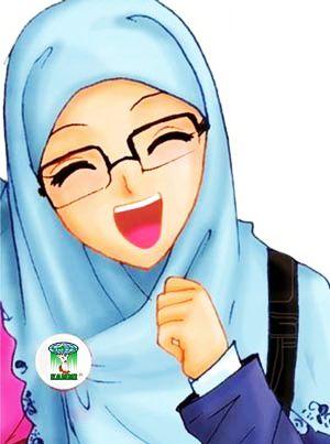 Gambar Kartun Hijab Cantik Berkacamata