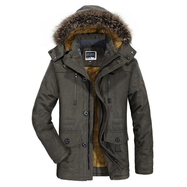 Domple Men Warm Fleece Lined Thicken Hooded Quilted Down Coat Parka Jackets