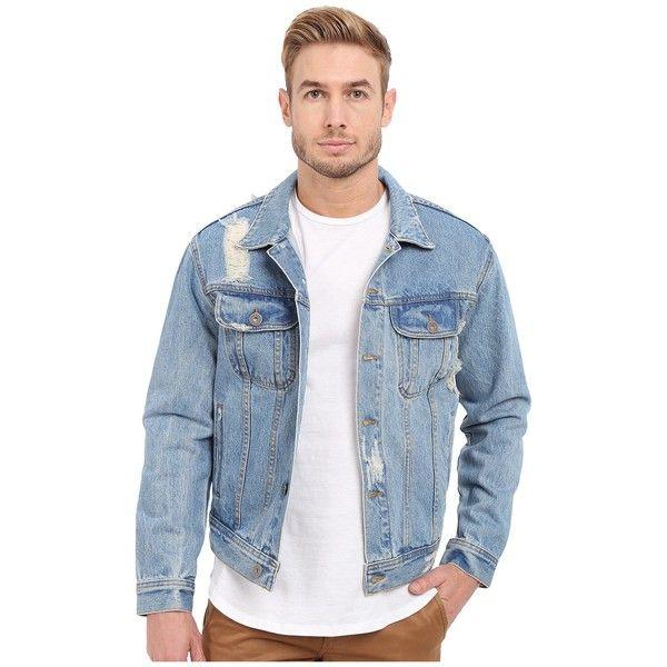 Rustic Dime Denim Jacket (Light Indigo) Men's Coat ($82) ❤ liked on Polyvore featuring men's fashion, men's clothing, men's outerwear, men's jackets, mens vintage jackets, mens vintage jean jacket, mens distressed leather jacket and mens jackets