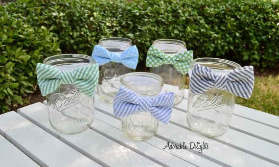 Set of 8 - Baby Shower Bowtie Decorations - Elastic Band Bowties - Custom Fabric, Little Man or Mustache Bash Theme Birthday or Shower on Etsy, $32.00