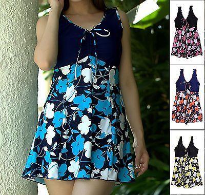Womens-Flower-Swimwear-Tankini-Swimsuit-Beach-Dress-Swimdress-UK-24-22-20-18-16